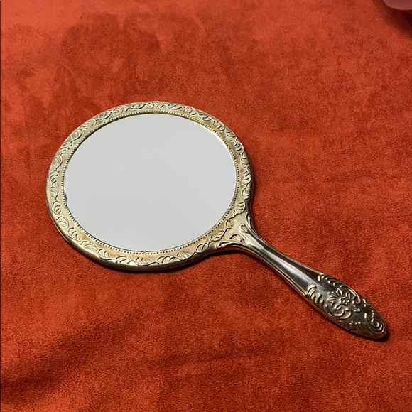 Vintage Other - Vintage Silver Plated Scrolled Round Hand Mirror